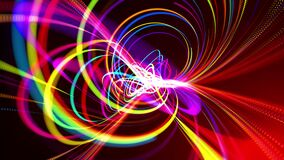 Abstract looped background in 4k with multicolor light streaks, light and bokeh effects. Neon lines made of particles