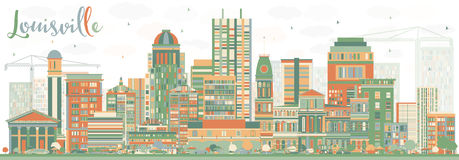 Abstract Louisville Skyline with Color Buildings. Vector Illustration. Business Travel and Tourism Concept with Modern Architecture. Image for Presentation Stock Images