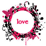 Abstract Love. Grungy Valentine's Day Design With Butterflies vector illustration