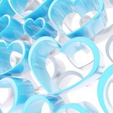 Abstract love background of white and blue heart shapes Royalty Free Stock Photo