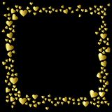 Gold Hearts frame isolated on black background Royalty Free Stock Photography