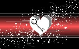 Abstract love banner on black. Illustration representing an abstract decorated banner on a black background with stylized heart and a key Stock Images
