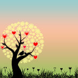 Abstract love birds and red hearts. On yellow flowers tree Royalty Free Stock Photography