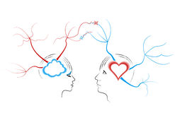 Abstract love. Abstract drawing a young couple related thoughts. The concept of mind maps Stock Photography