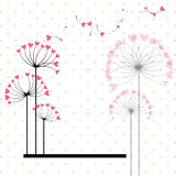 Abstract love flower on polka dot background Royalty Free Stock Photos