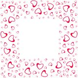 Abstract love frame from a pattern of hearts. For greeting cards, invitations Valentine`s day, wedding, birthday. Vector illustration Stock Images