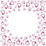 Abstract love frame from a pattern of hearts. For greeting cards, invitations Valentine`s day, wedding, birthday. Vector illustration Stock Illustration