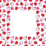 Abstract love frame from a pattern of hearts. For greeting cards, invitations Valentine`s day, wedding, birthday. Vector illustration Stock Photography