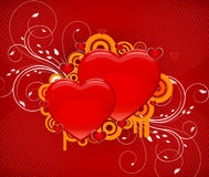 Abstract love heart background. Abstract red love heart background with floral design Stock Photo