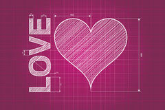 Abstract love heart blueprint, pink background. With measures, scribbled style royalty free illustration