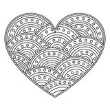 Abstract Love Heart with ornament of circles. Page for coloring book, greeting card. Pattern for Valentine day Royalty Free Stock Images