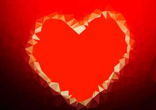 Abstract love heart red color low poly bokeh wallpaper Royalty Free Stock Photos