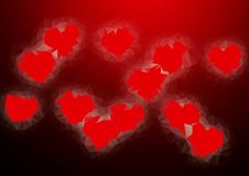 Abstract love heart red color low poly bokeh wallpaper Stock Photo