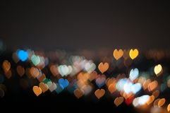 Abstract Love or heart shape bokeh background of Kuala Lumpur Stock Photos