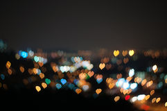 Abstract Love or heart shape bokeh background of Kuala Lumpur Royalty Free Stock Photos