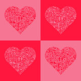 Abstract love hearts. Set of abstract red and pink love hearts filled with romantic icons Royalty Free Stock Photography
