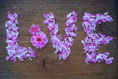 Abstract love letter from flower on wood texture Stock Photography