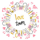 Abstract love town vector illustration. Valentines card design with doodle houses and hearts Stock Photography