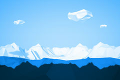 Abstract low poly background with icy mountain and white clouds flying in the air . Early morning sunny illustration Royalty Free Stock Images