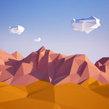 Abstract low poly background with sand desert and white clouds flying in the air . Early morning sunny illustration with. Abstract background with sand desert stock illustration