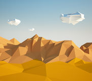 Abstract low poly background with sand desert and white stones flying in the air . Early morning sunny illustration with. Abstract background with sand desert stock illustration