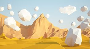 Abstract low poly background with sand desert and white stones flying in the air . Early morning sunny illustration with. Abstract background with sand desert vector illustration