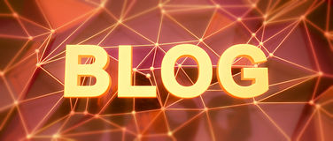 Abstract low-poly background. Word concept. Text blog. Royalty Free Stock Image