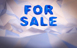 Abstract low-poly background. Word concept. Text for sale. 3d render Royalty Free Stock Photos