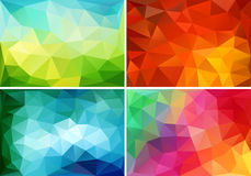Abstract low poly backgrounds, vector set. Abstract colorful low poly backgrounds, set of vector design elements stock illustration