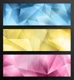 Abstract Low Poly Banners. Set Of Low Poly Abstract Geometric Web Banners Stock Photography