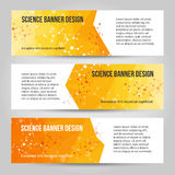 Abstract low poly banners set with molecule structure vector illustration
