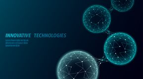 Abstract low poly biological connected cell. Connection world communication technology polygonal. Blue business science. Presentation concept. Wireframe vector illustration