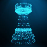 Abstract Low Poly Chess Piece Rook consisting of blue dots and lines. Abstract business strategy illustration, 3D. Abstract Low Poly Chess Piece Rook consisting Stock Photography