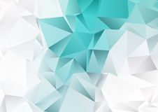 Low poly design with teal and silver colours. Abstract low poly design background with teal and silver colours Stock Illustration