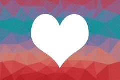 Abstract low poly heart frame background . royalty free illustration