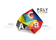 Abstract low poly infographics template. Abstract low poly infographics vector template Royalty Free Stock Image