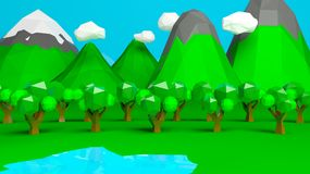 Abstract low poly nature landscape Royalty Free Stock Photos