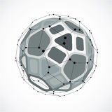 Abstract  low poly object with black lines and dots connec Royalty Free Stock Image