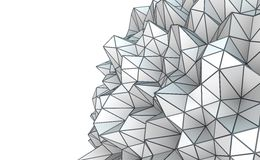 Abstract low poly shape. 3D Illustration - Abstract low poly shape isolated on white background Royalty Free Stock Photos