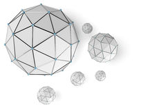 Abstract low poly sphere with connected dots Royalty Free Stock Image