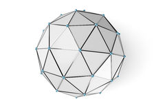 Abstract low poly sphere with connected dots Royalty Free Stock Photo