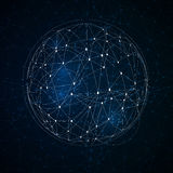 Abstract low poly sphere with connecting dots. Abstract global technology background with connecting dots Stock Photos