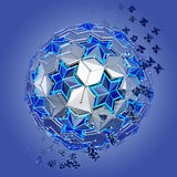 Abstract of low poly sphere with stars structure Royalty Free Stock Images