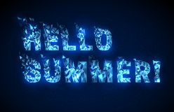 Abstract low poly style text hello summer. stock illustration