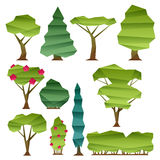 Abstract low poly style trees set Royalty Free Stock Image