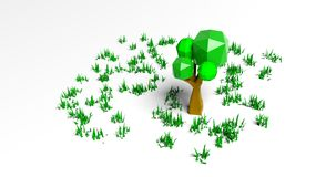 Abstract low poly treeand grass Royalty Free Stock Photos