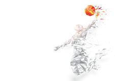 Abstract low polygon basketball player jumping dunking on white background. Stock Photography