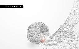 Abstract low polygon football kicking the ball wireframe mesh background Stock Photography