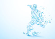 Abstract low polygon football player kicking the ball background Royalty Free Stock Photo