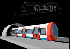 Abstract low-polygonal metro train. On black background Stock Photo